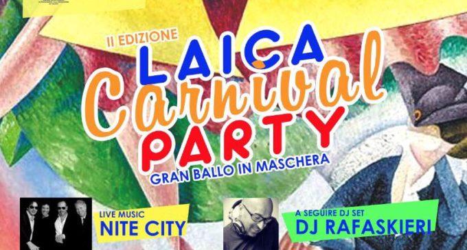 Venerdì 9 febbraio la seconda edizione di Laica Carnival Party nel foyer del Politeama Greco