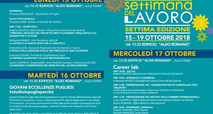 Settimana del Lavoro dal 15 al 19 ottobre all'Università del Salento