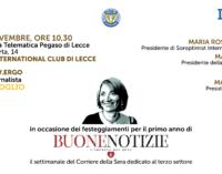 """""""Buone Notizie"""", la giornalista Elisabetta Soglio a Lecce con Soroptimist Lecce e Fondazione Divergo"""